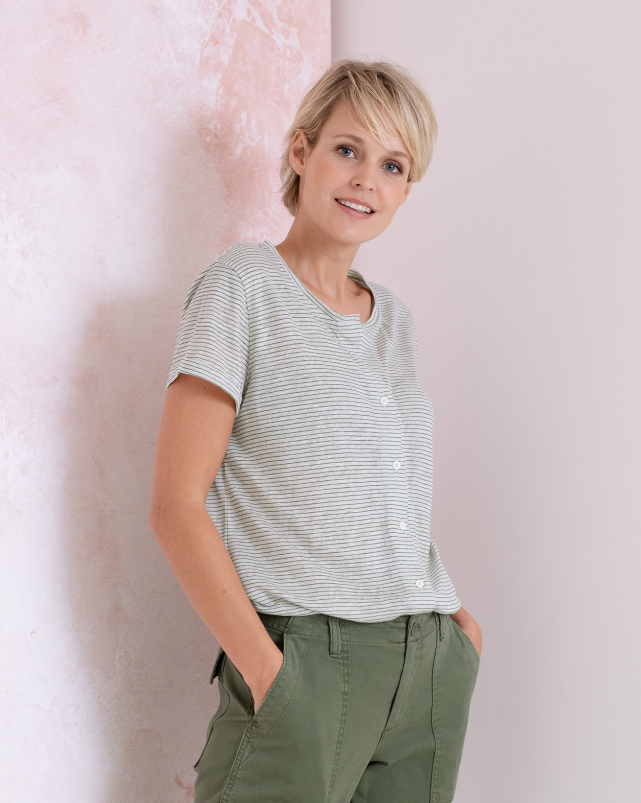 Linen Cotton Button Through Top
