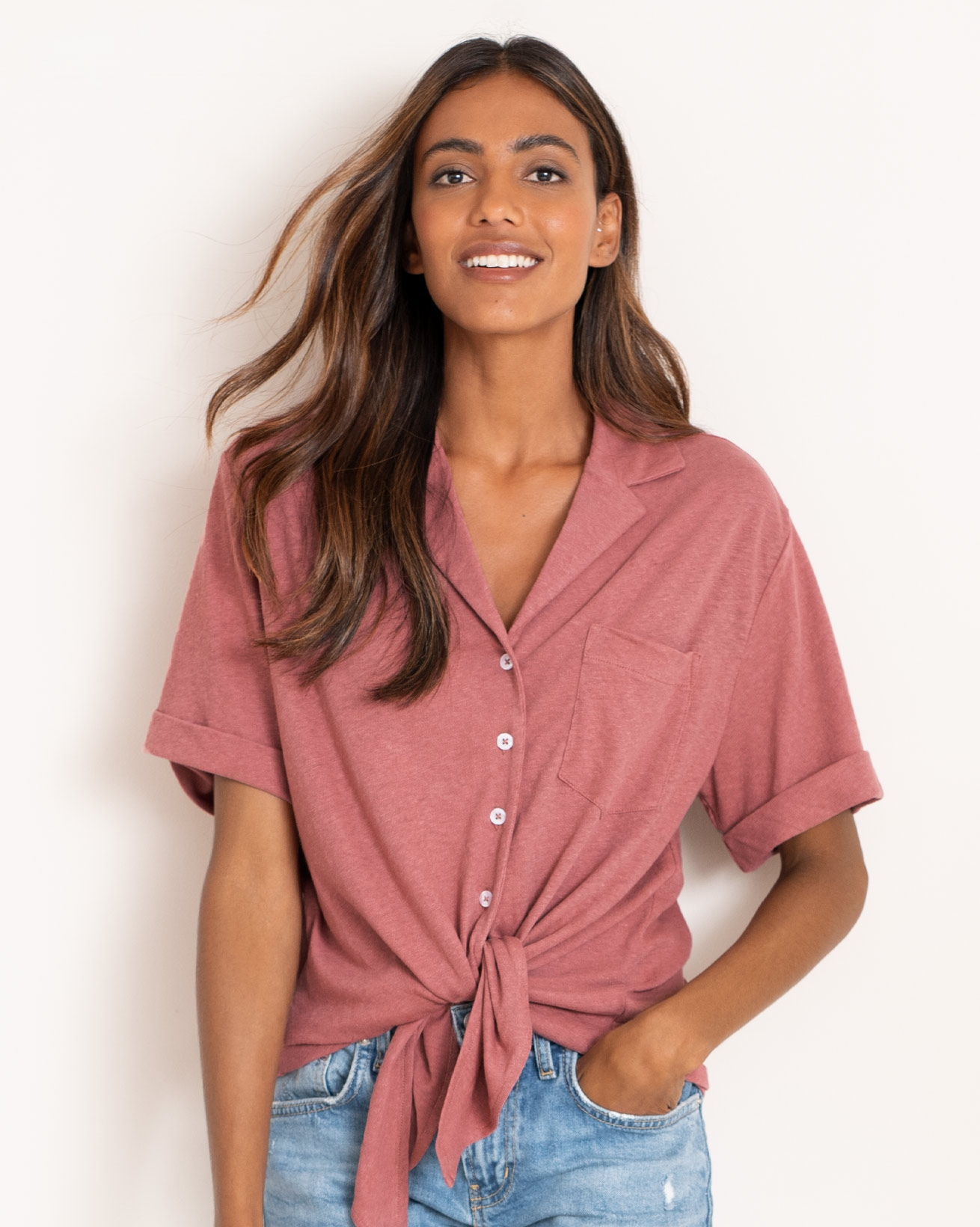 Linen Cotton Front Tie Top