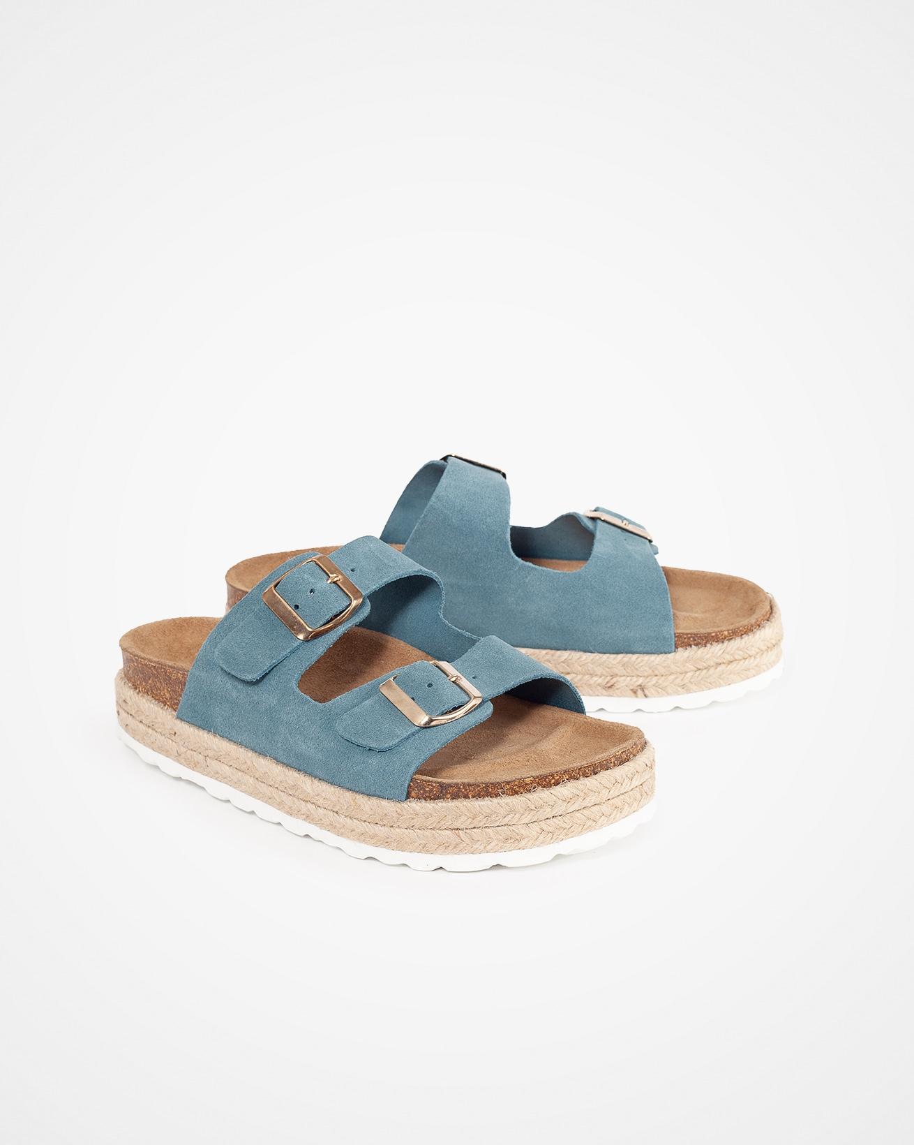 Leather Buckle Sandal - Denim - Size 41 - 2782