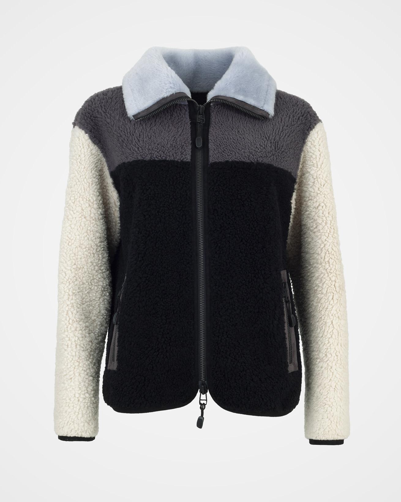 Sporty Colourblock Sheepskin Jacket - Size 10 - Navy - 2008