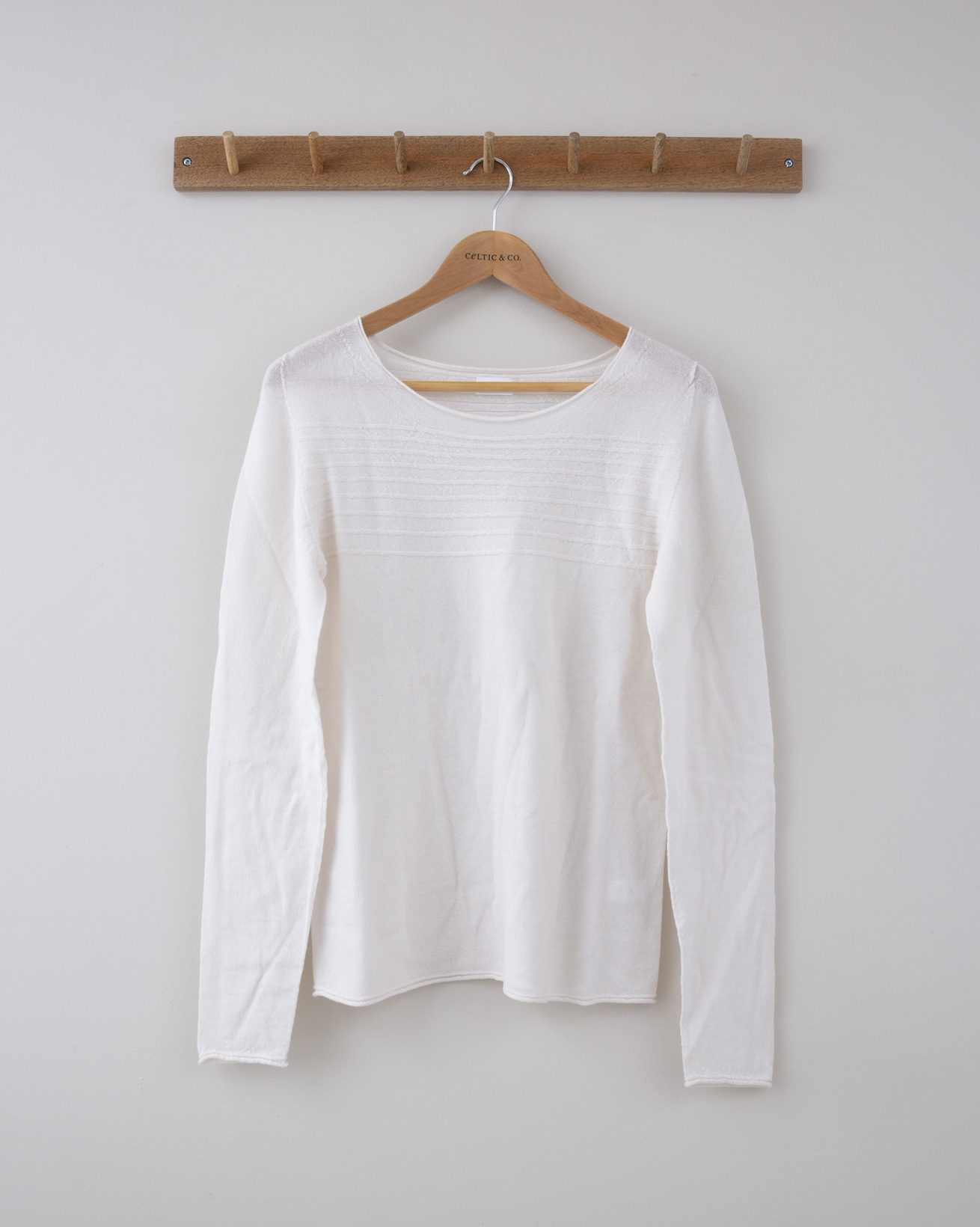 Fine Knit Merino Crew Neck - Small - Winter White Purl Stripe - 1252