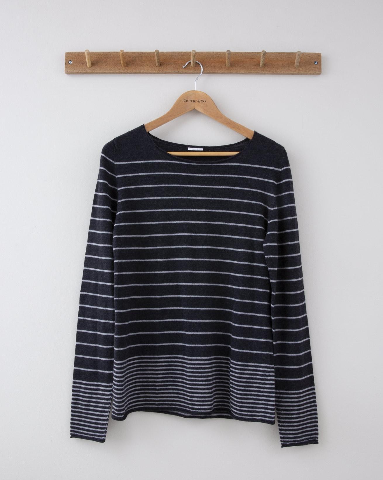 Fine Knit Merino Crew Neck - Small - Charcoal & Grey Gradient stripe - 1255