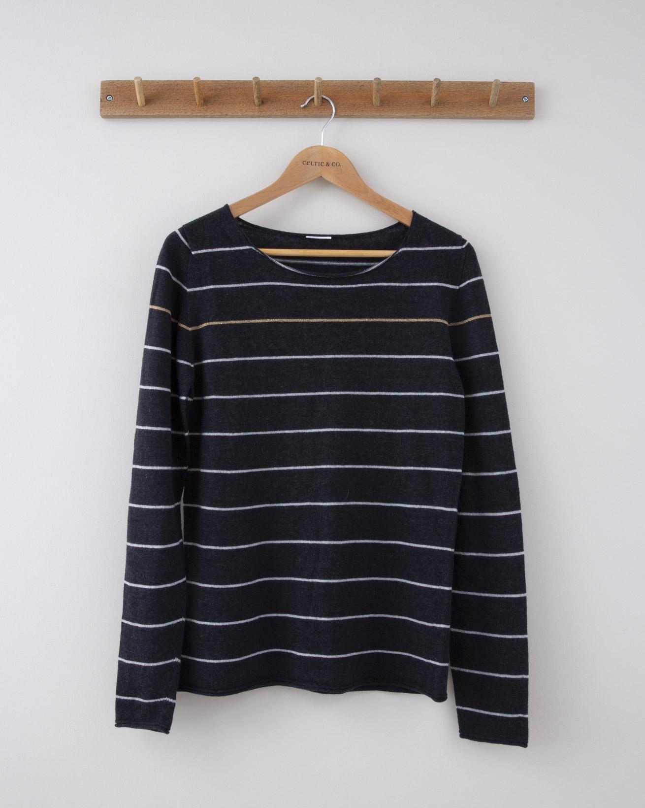 Fine Knit Merino Crew Neck - Small - Charcoal w/silver grey Stripe & Gold Chest Stripe - 1256