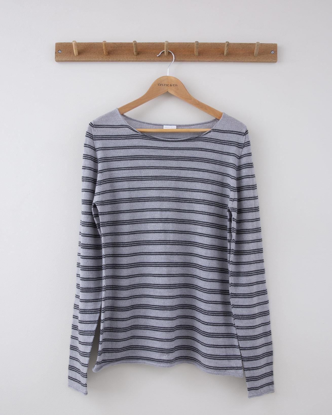 Fine Knit Merino Crew Neck - Small - Silver Grey w/Charcoal Stripe - 1257