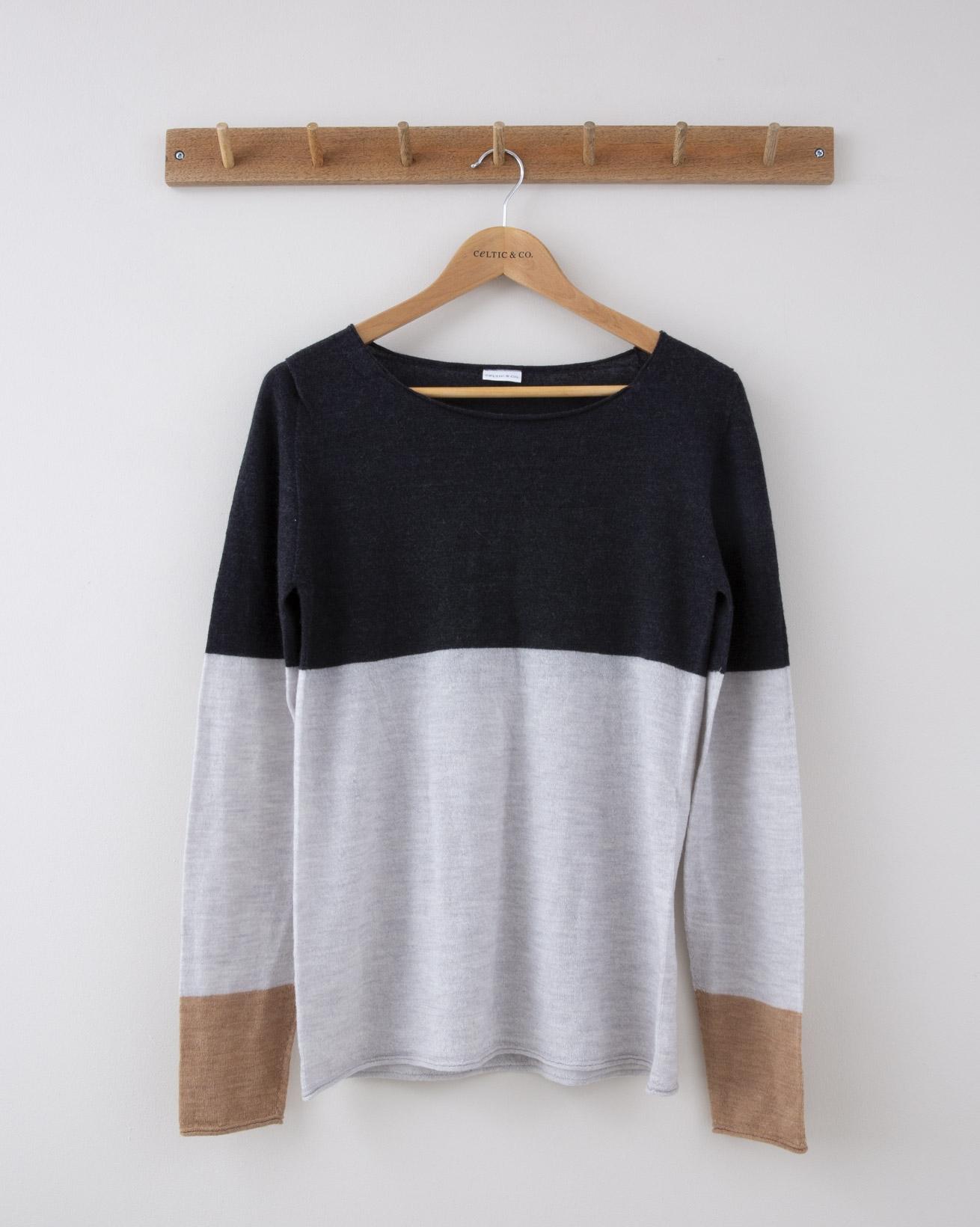 Fine Knit Merino Crew Neck - Small - Charcoal, Silver Grey & Camel Colourblock - 1261