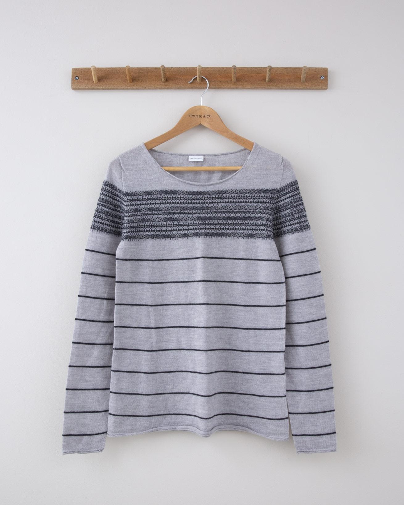 Fine Knit Merino Crew Neck - Small - Silver Grey Yoke Fairisle Stripe - 1262