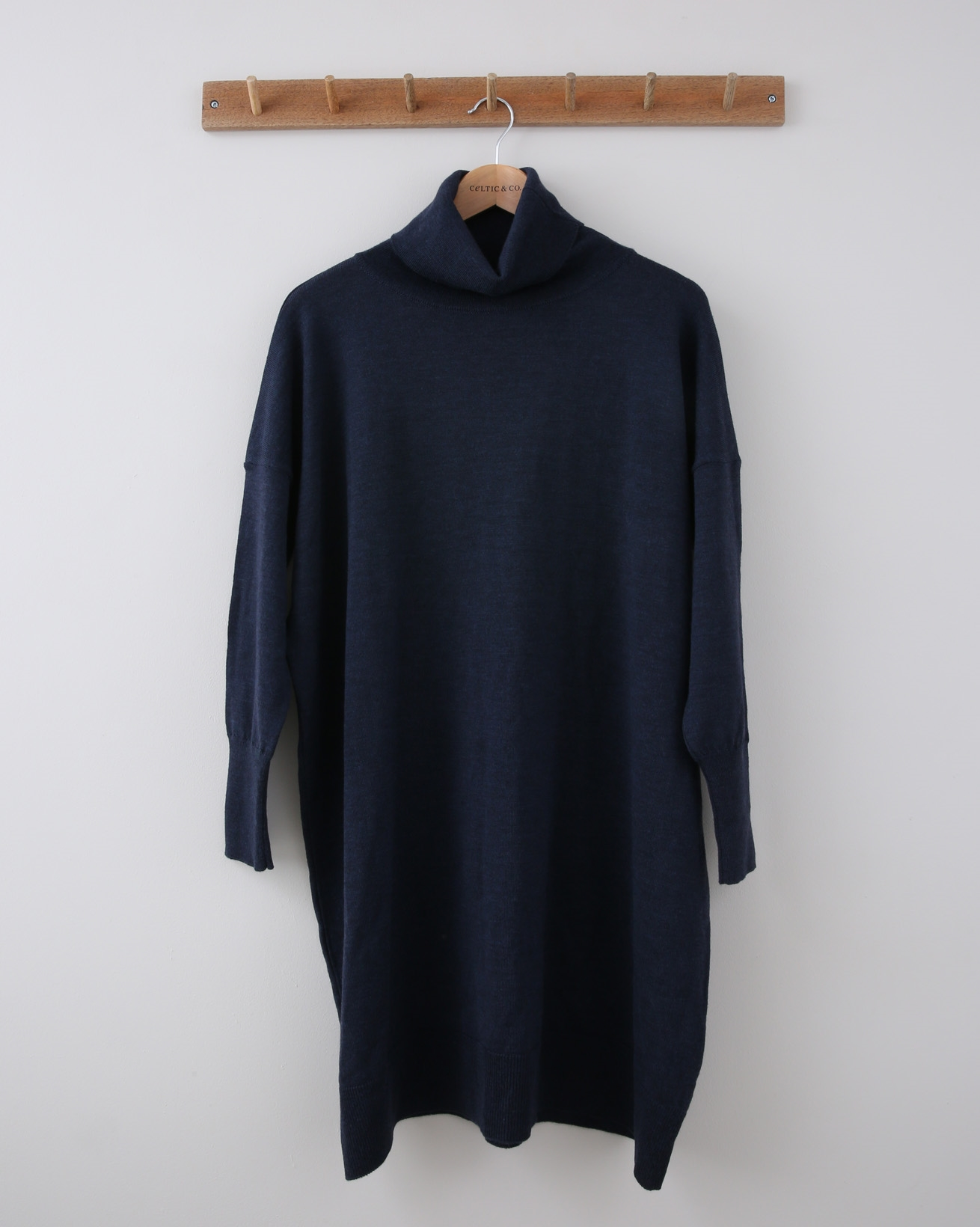 Slouchy Fine Knit Roll Neck Dress - Small - Airforce Blue - 1183