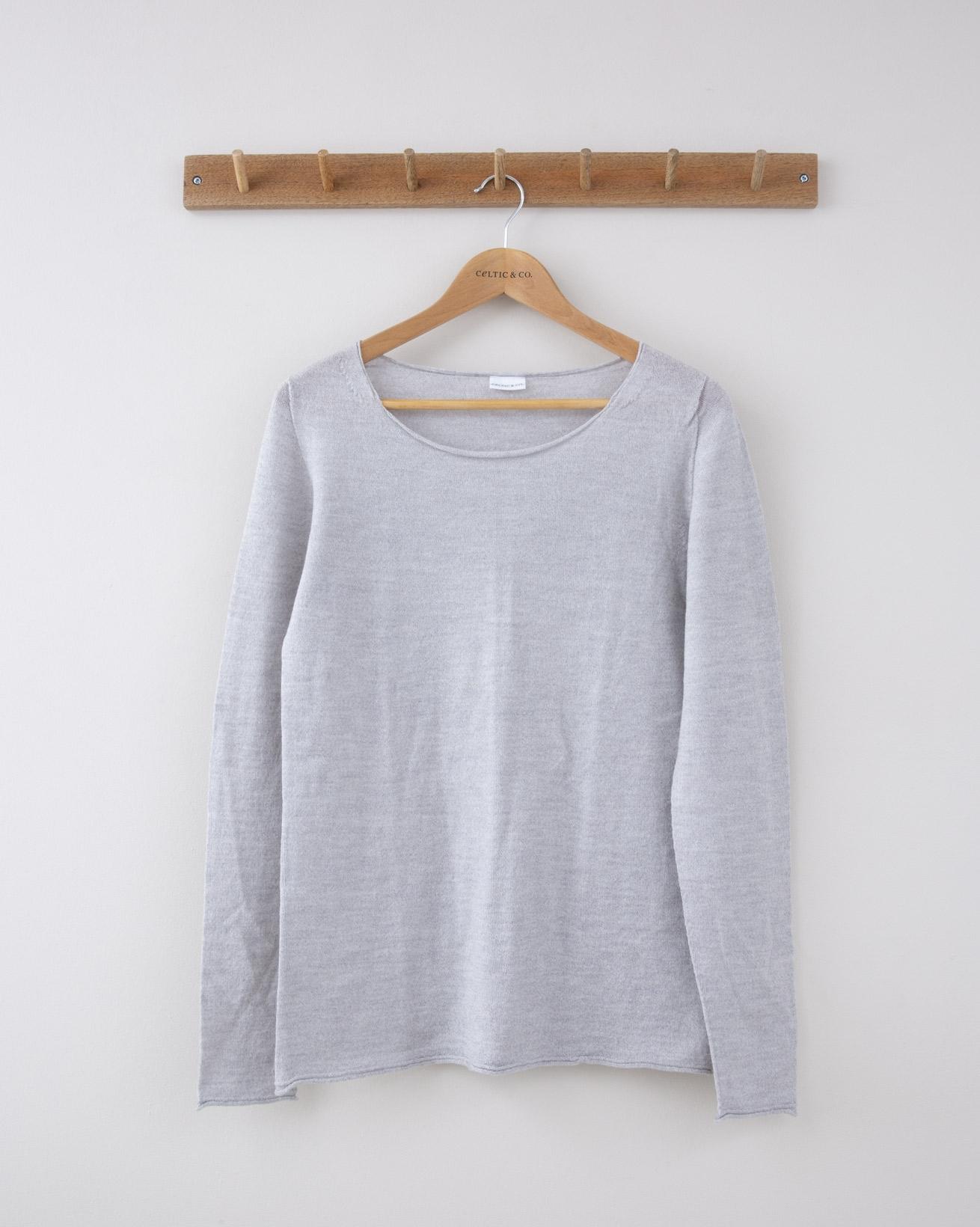 Fine Knit Merino Crew Neck - Small - Silver Grey - 1267