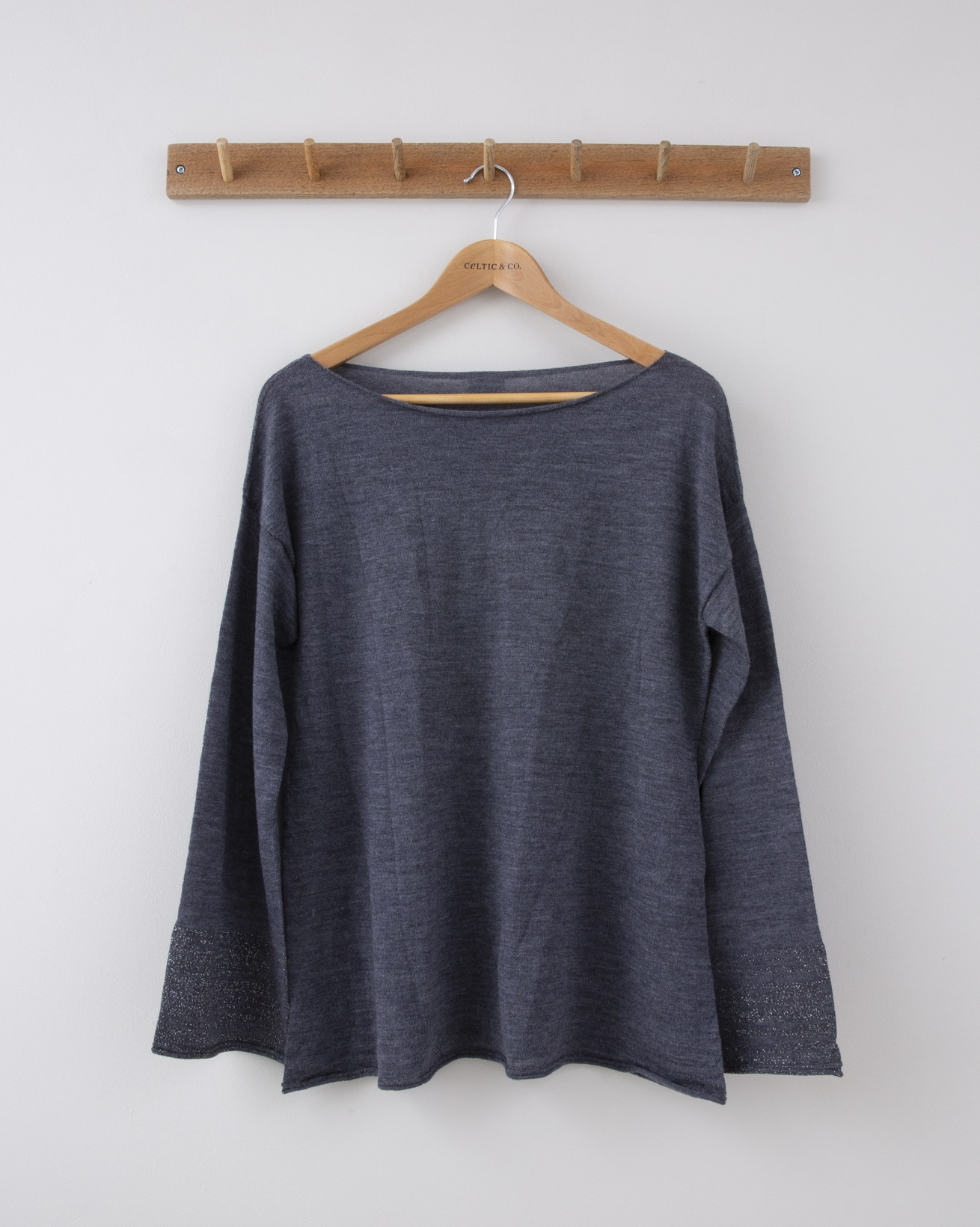 Fine Knit Merino Crew Neck - Small - Derby Grey with Metallic Cuffs - 1269