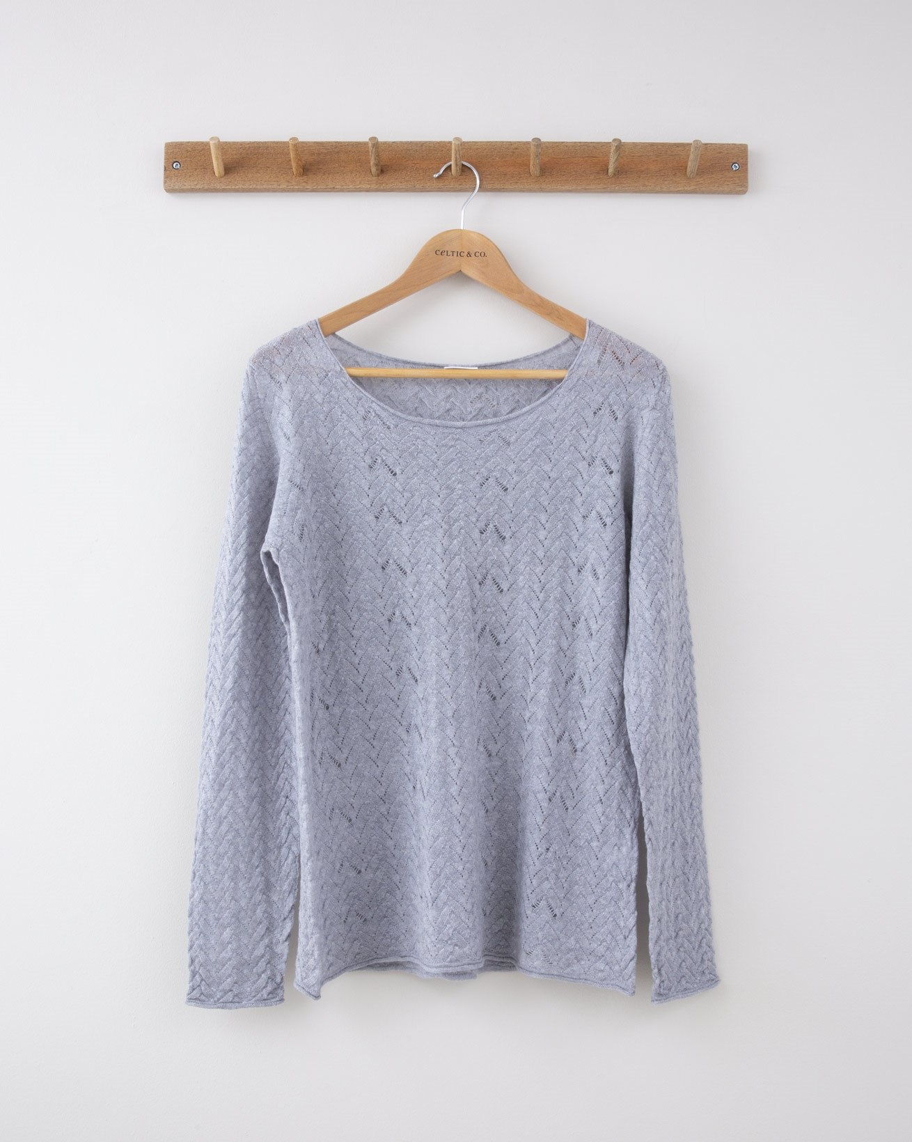 Fine Knit Lacey Cable Crew neck - Small - Silver Grey - 1270