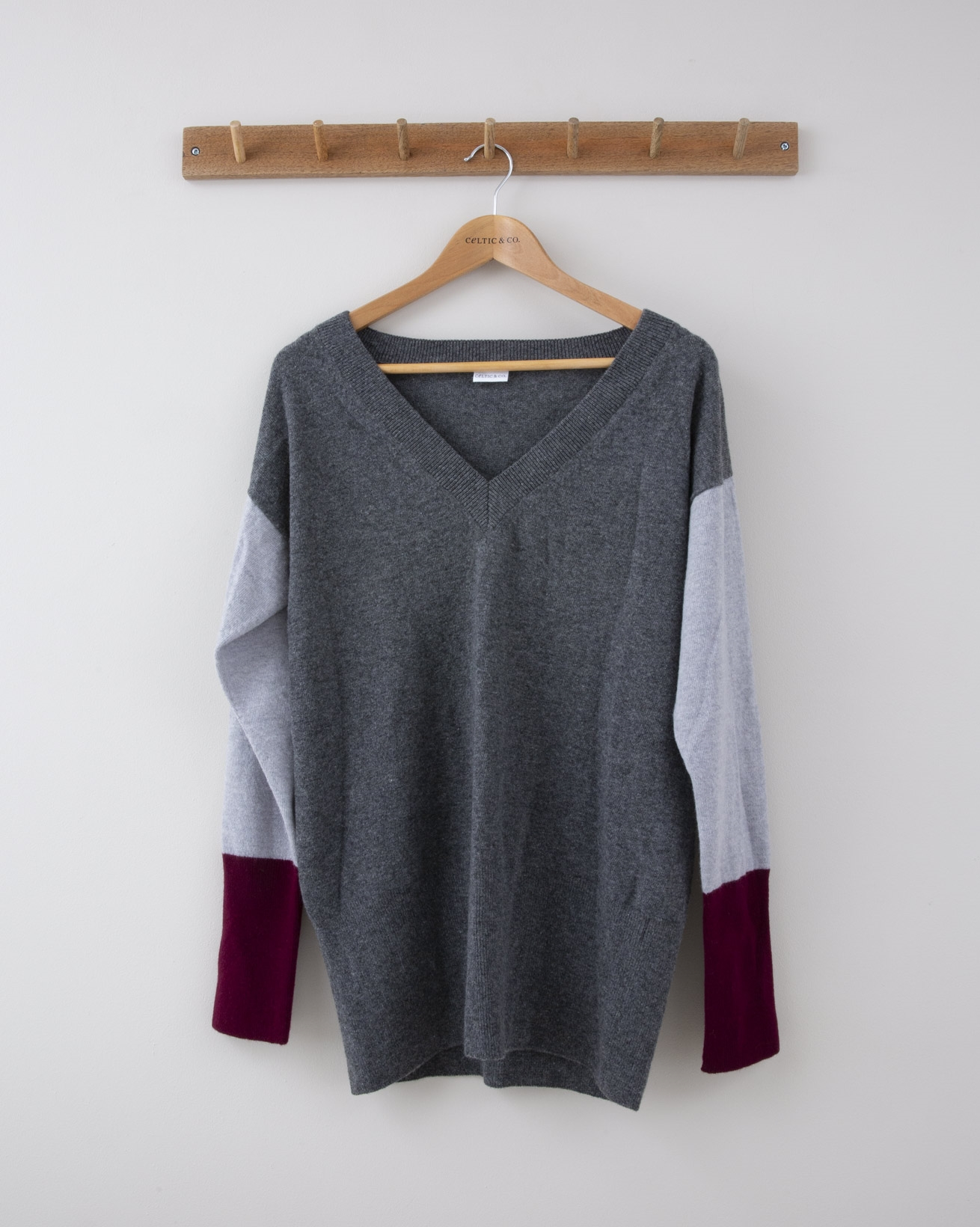 Supersoft V Jumper - Small - Derby Grey w/ Silver Grey & Claret Block Sleeve - 1274