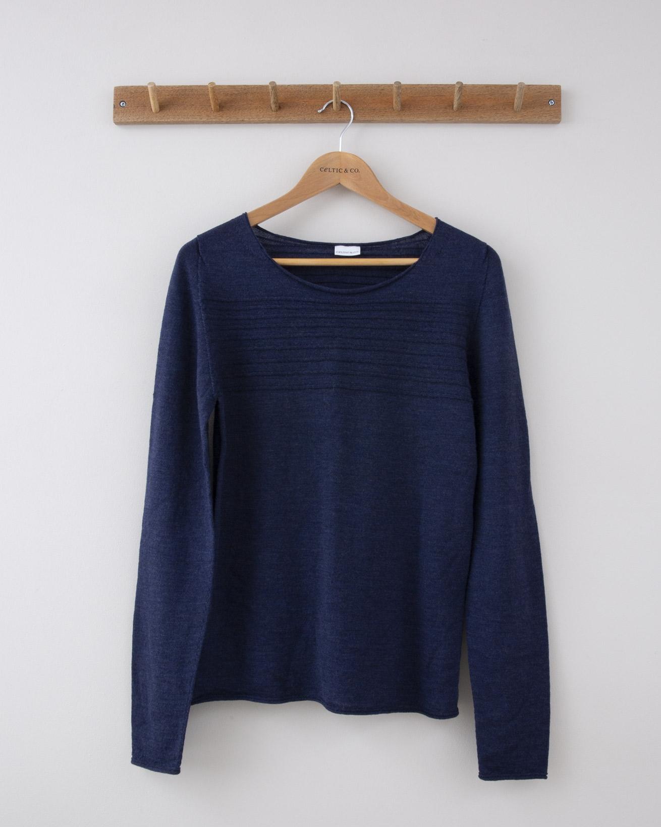 Fine Knit Merino Crew Neck - Small - Indigo Purl Stripe - 1275
