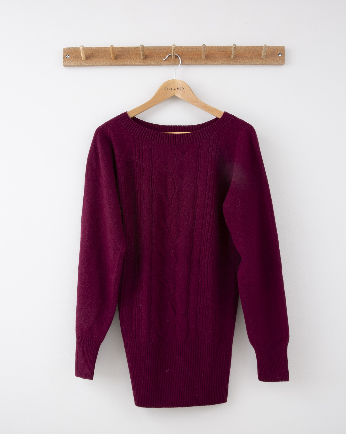 Lace Cable Supersoft Jumper - Small - Claret - 1277