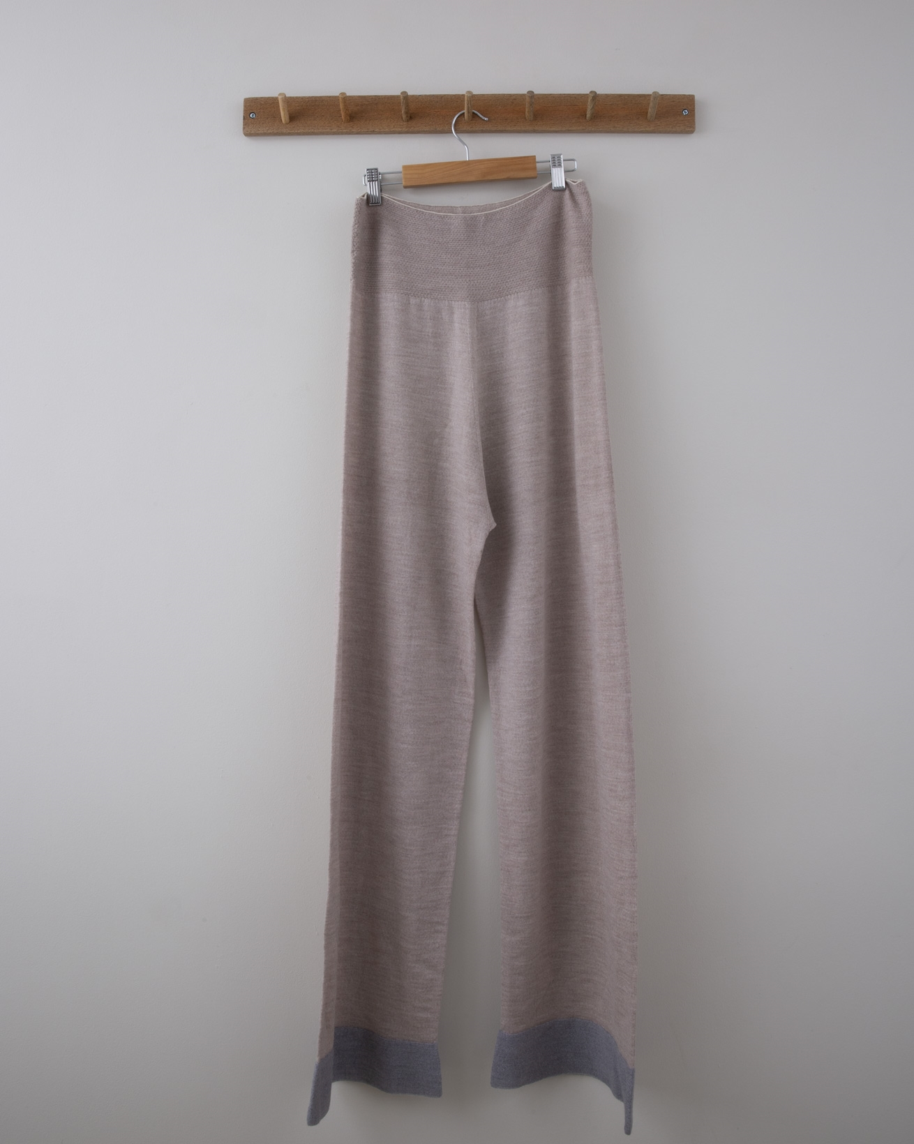 Wide Leg Merino Lounge Pant - Small - Pale Camel w/Grey Tipping - 1280