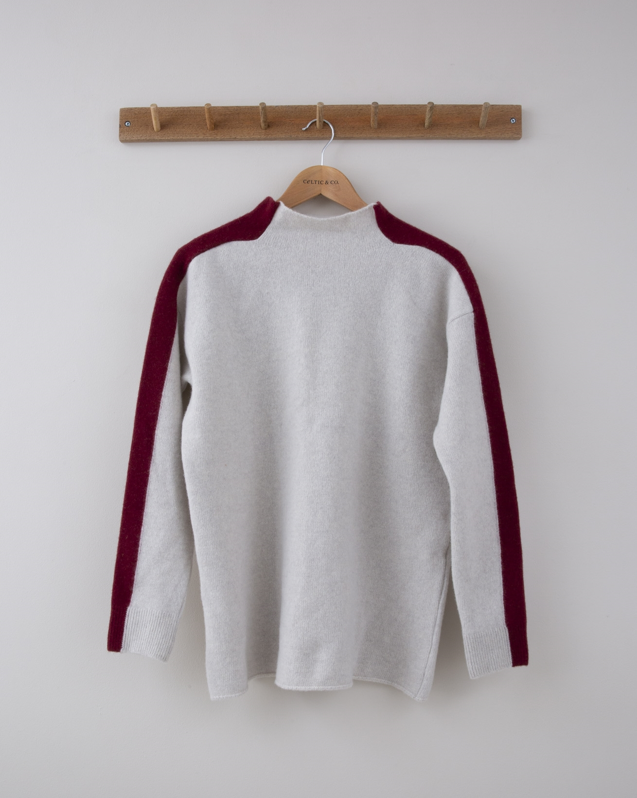 Felted Funnel Neck - Small - Fossil w/claret sleeve stripe - 1281