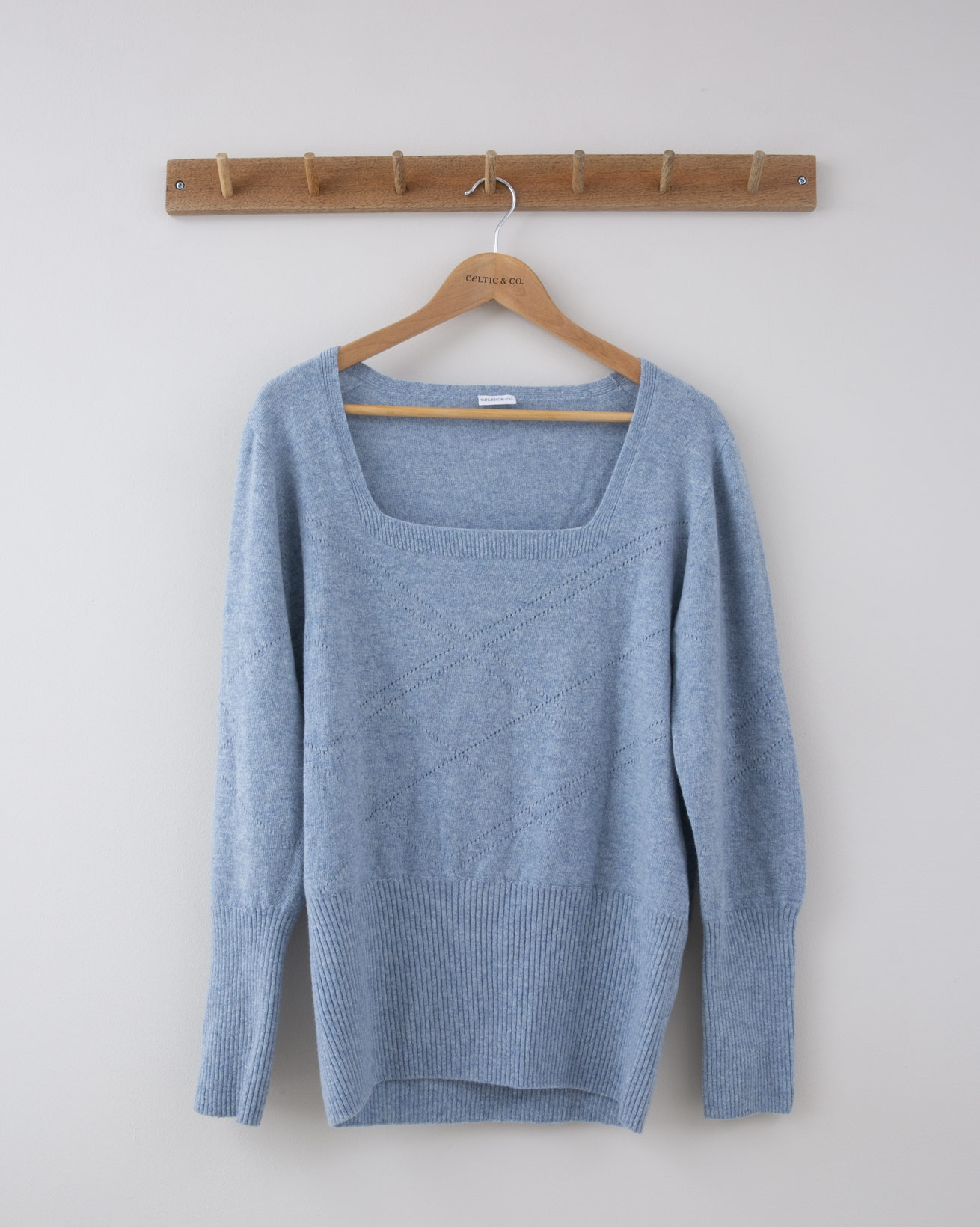 Square Neck Arglye Pointelle Jumper - Small - Denim Blue - 1284