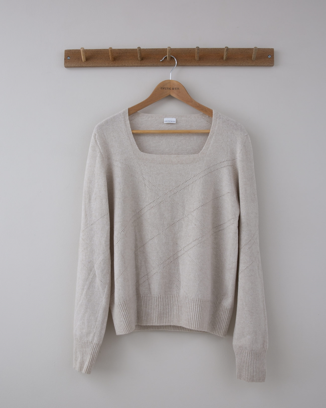 Square Neck Arglye Pointelle Jumper - Small - Oatmeal - 1285