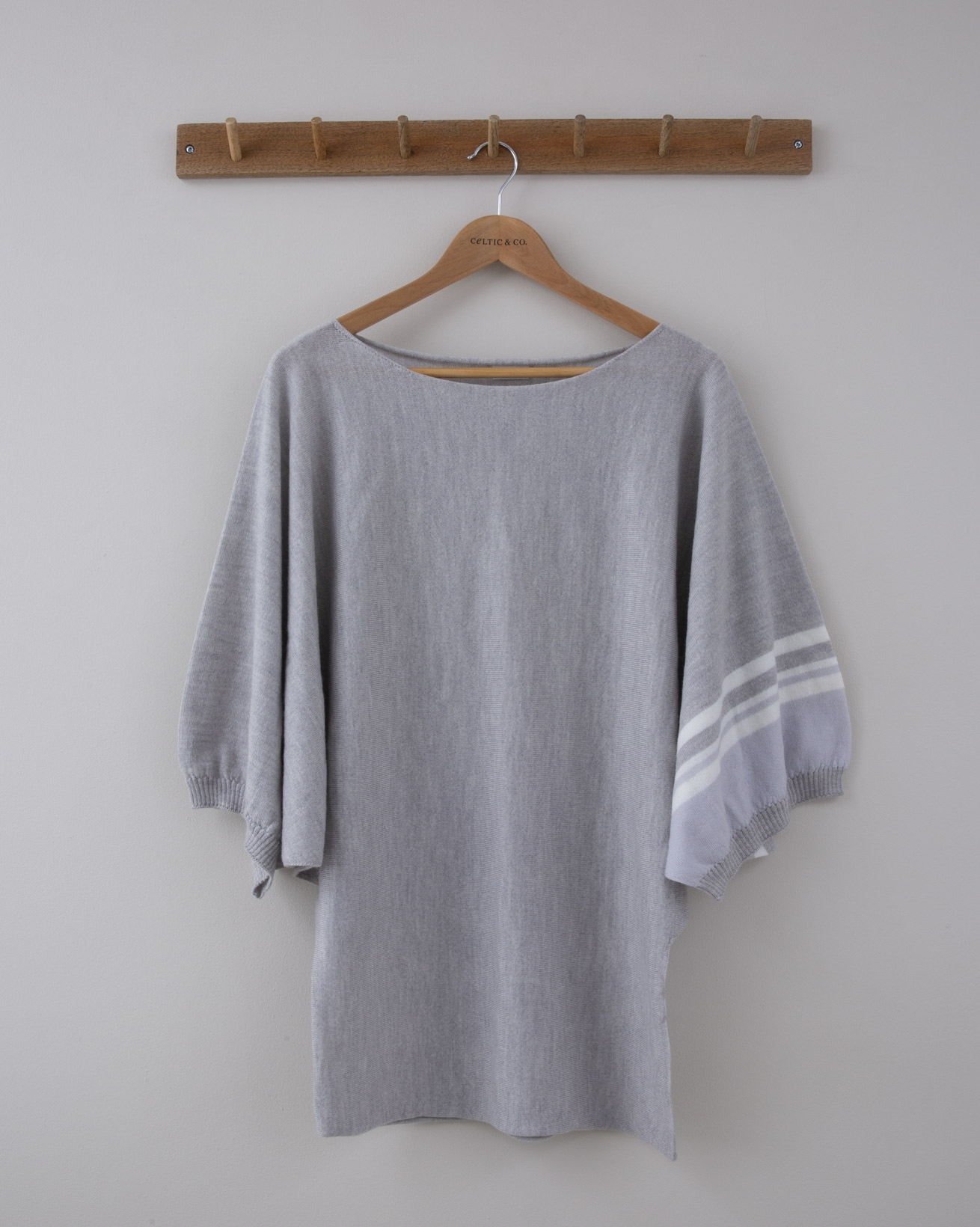 Fine knit Merino Batwing Tunic - Small - Grey with Sporty stripes on the cuff - 1288