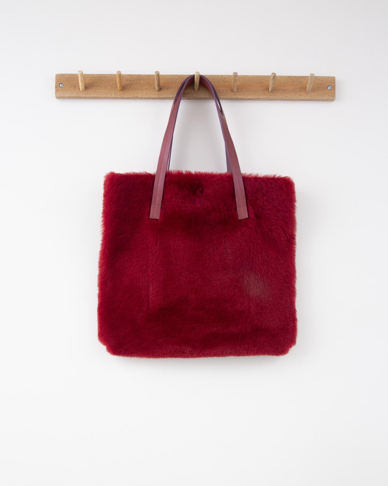 Sheepskin Shoulder Bag - 40cm x 35cm - Claret - 1293