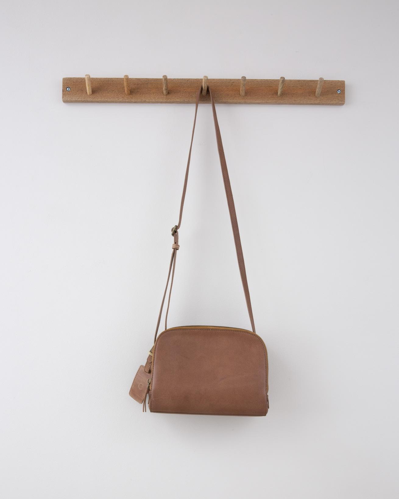 Double Zip Cross Body Bag - 23cm x 18cm - Nut - 1294