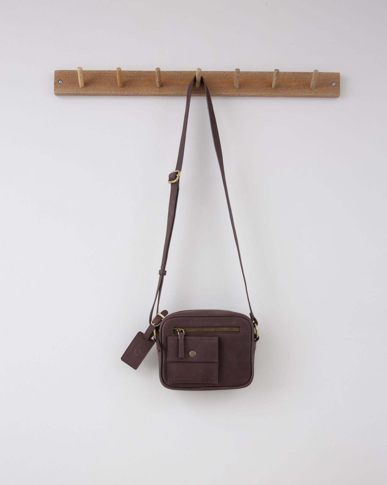 Small Zip up Cross Body Bag - 19cm x 16cm - Brandy - 1296