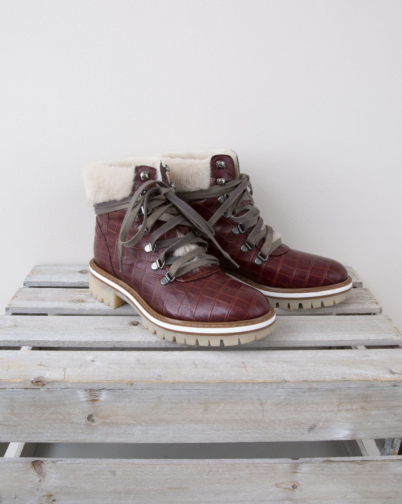 Croc Embossed Leather Hiker Boot - Size 37 - Claret Red with Cream Sheepskin - 1323
