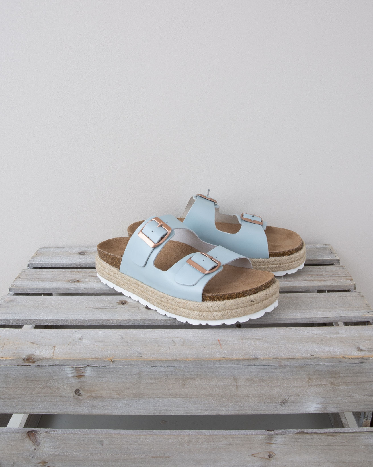 Double Buckle Sandal - Size 37 - baby Blue w/rose gold buckle - 1326