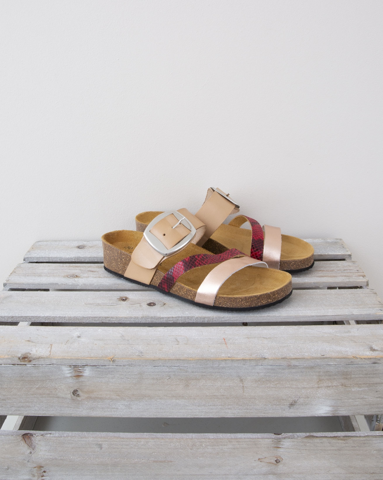 Small Wedge Triple Strap Sandal - Size 37 - Nude, Pink Snake & Rose Gold - 1328
