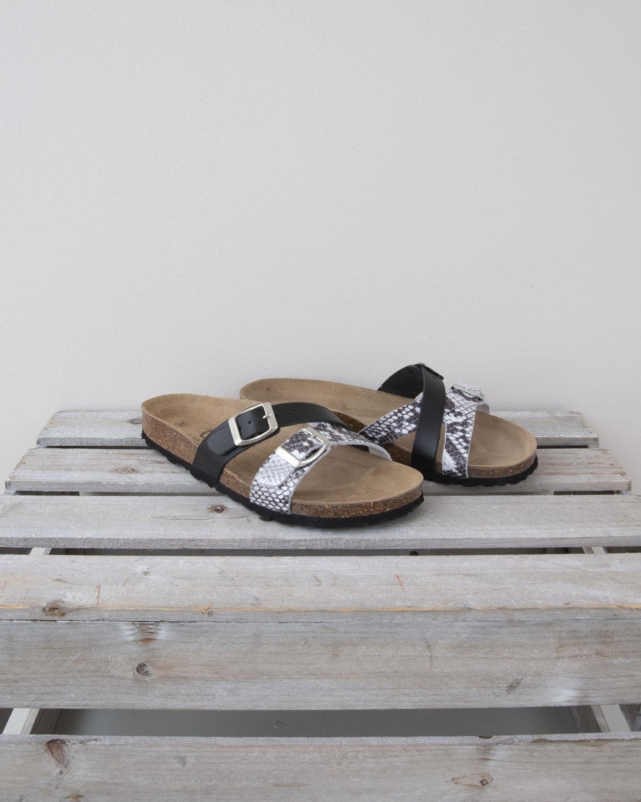 Crossover Double Strap Sandal - Size 37 - Black & Snake - 1327
