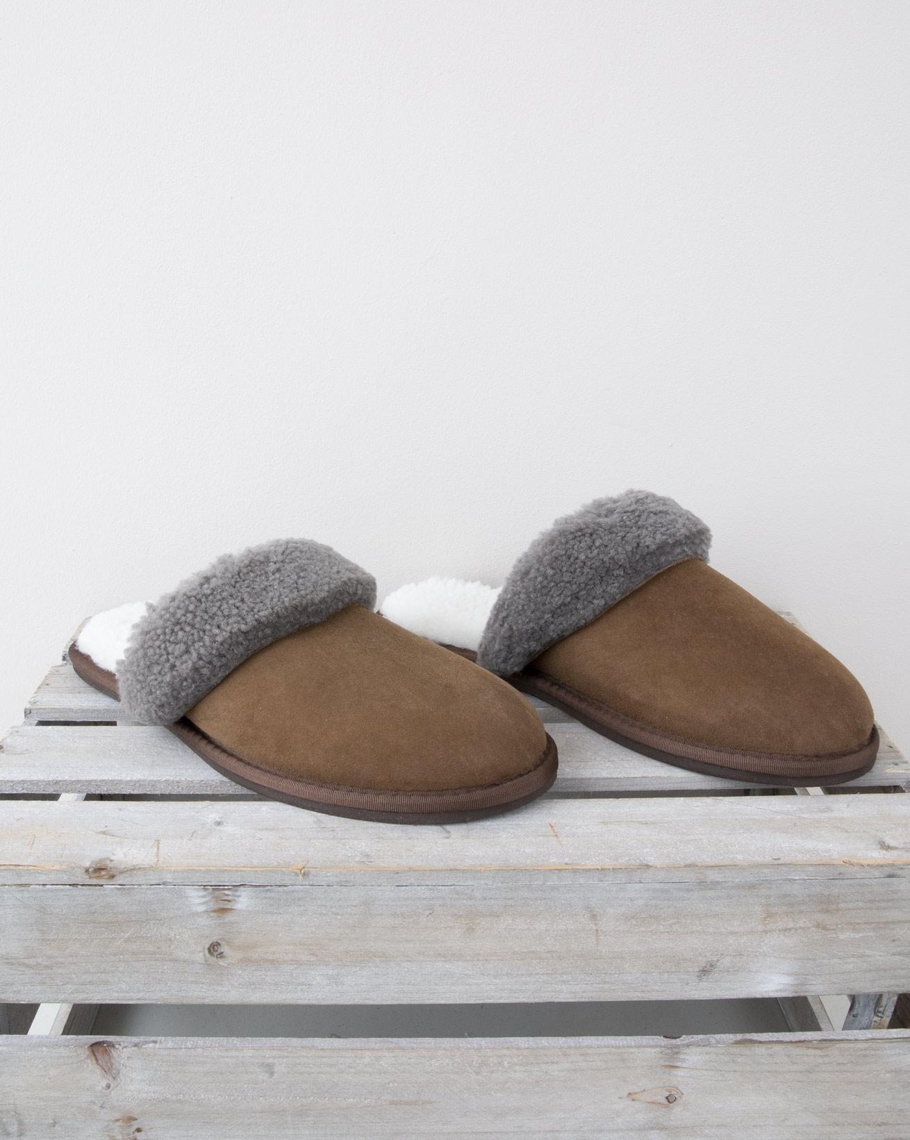 Mens Turnback Mules - Size 10 - Khaki - 1346
