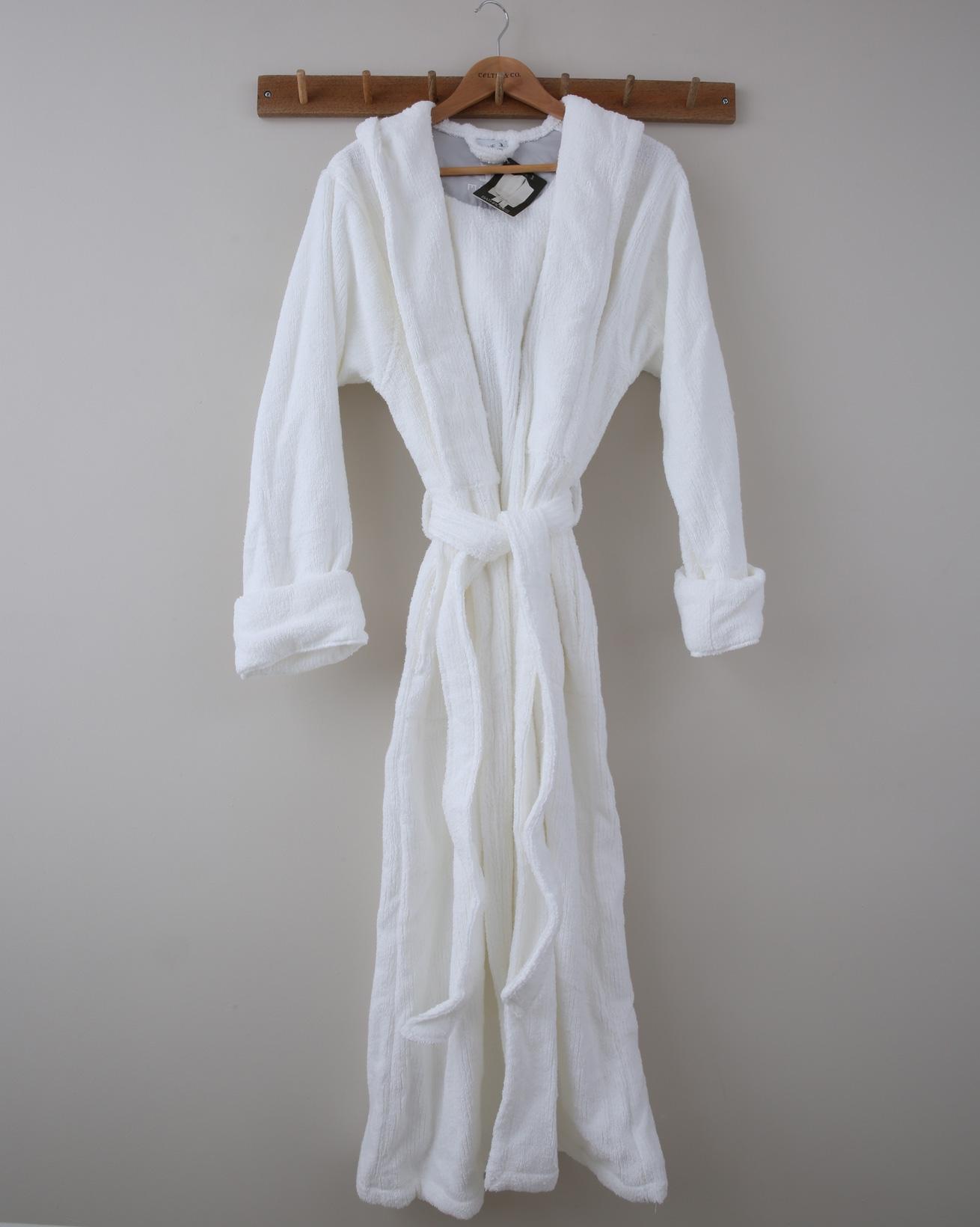 Full Length Hooded Dressing Gown - XS - White - 1368