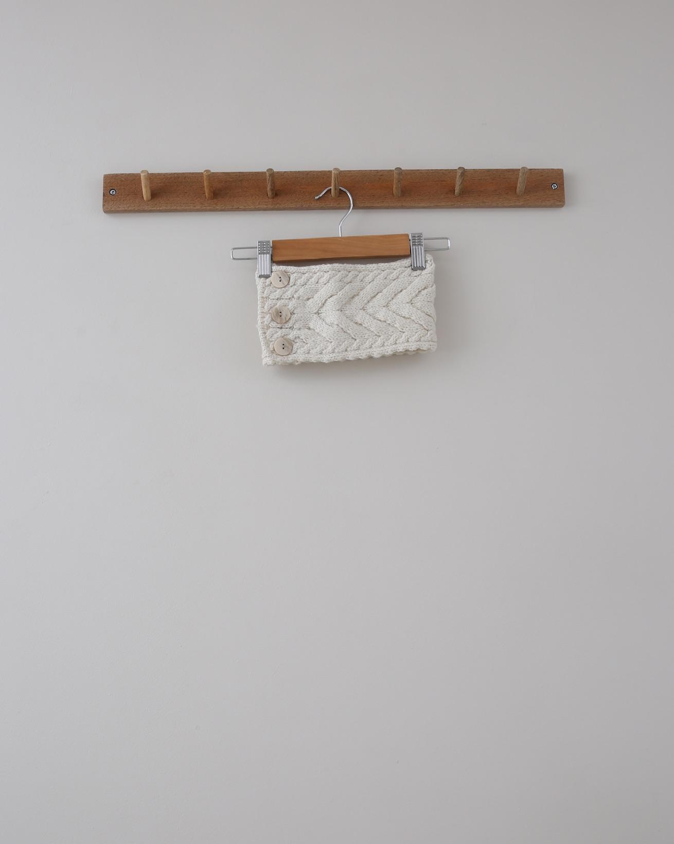 Aran Cable Button Headband - 12cm deep x 48cm - Aran Oatmeal - 1378