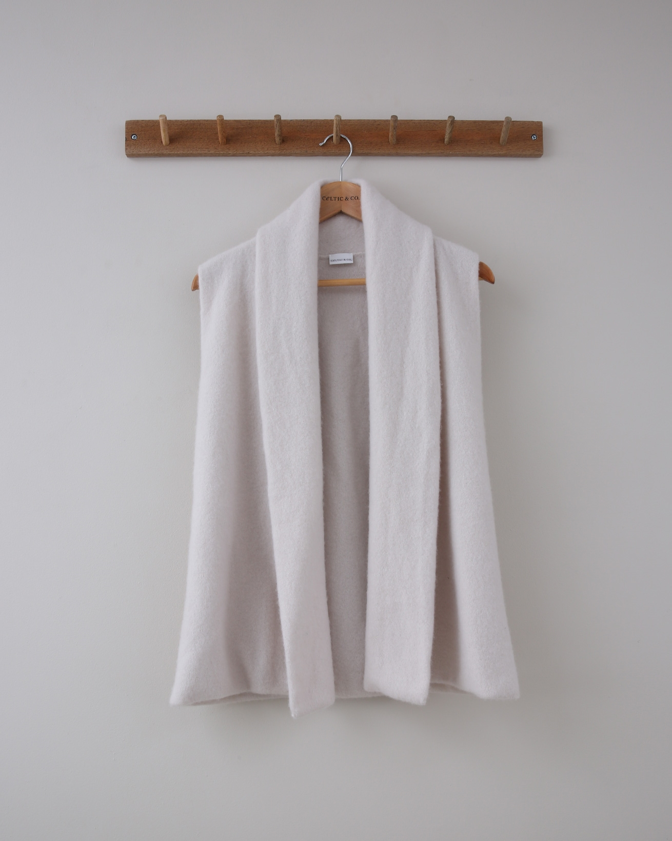 Shawl Collar Cashmere Bodywarmer  - Small - Ecru - 1384