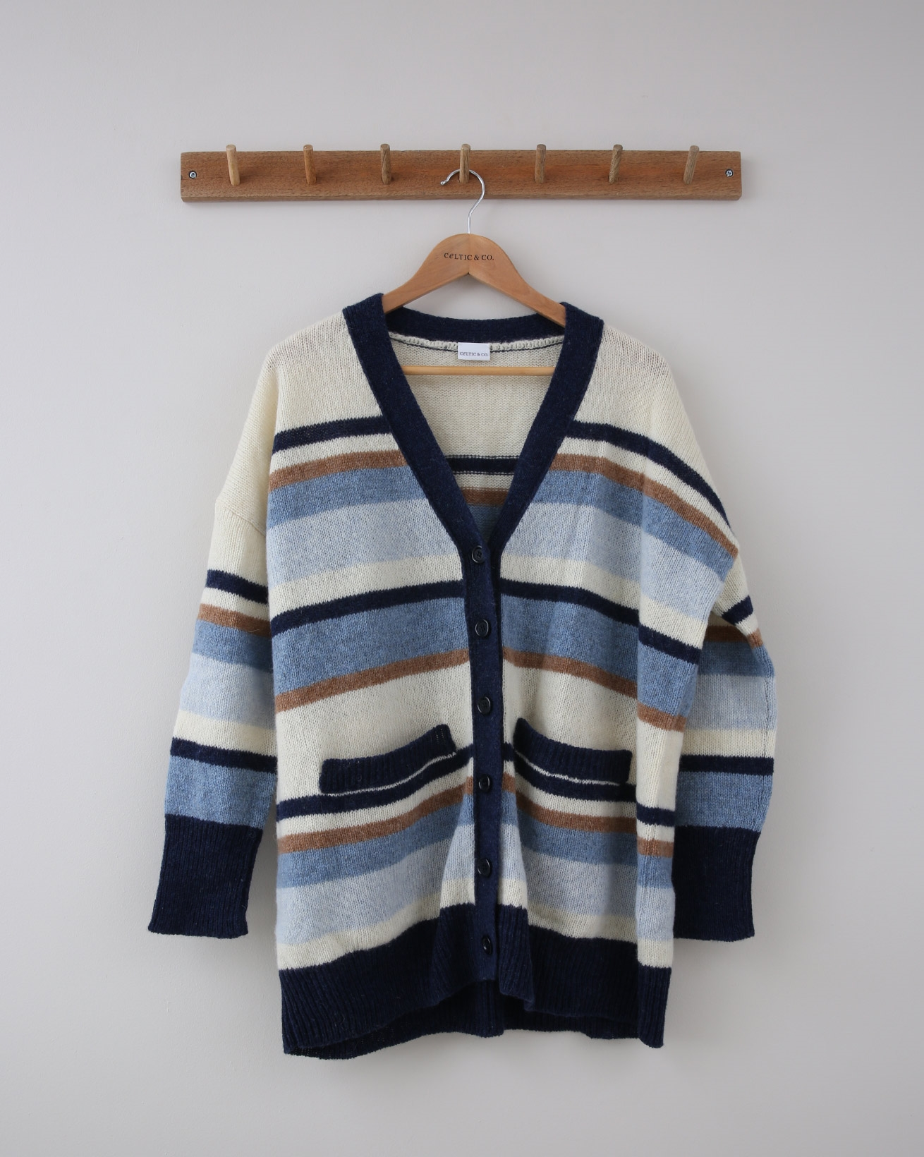 Varigated Stripe Boyfriend Cardigan - Medium - Blue & Cream Multi - 1385
