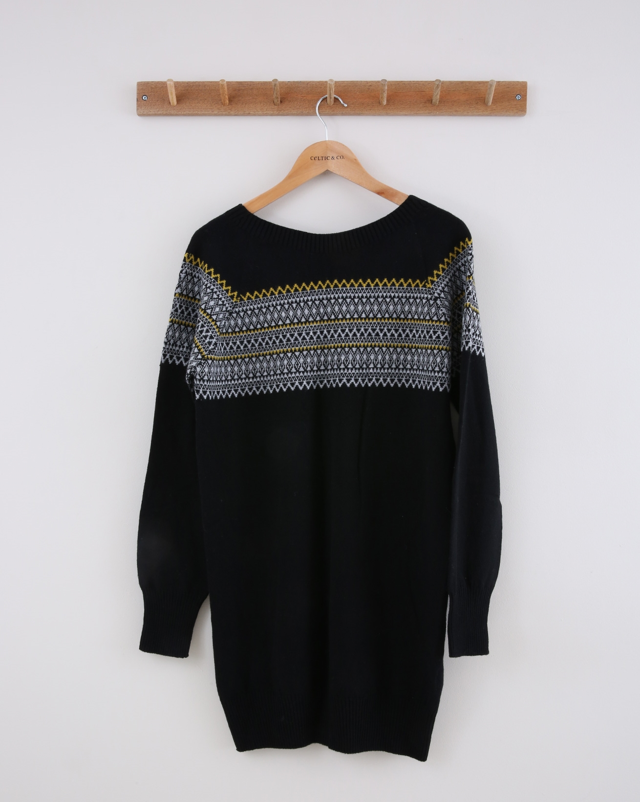 Supersoft Slouch Dress - Small - Black Fairisle - 1388