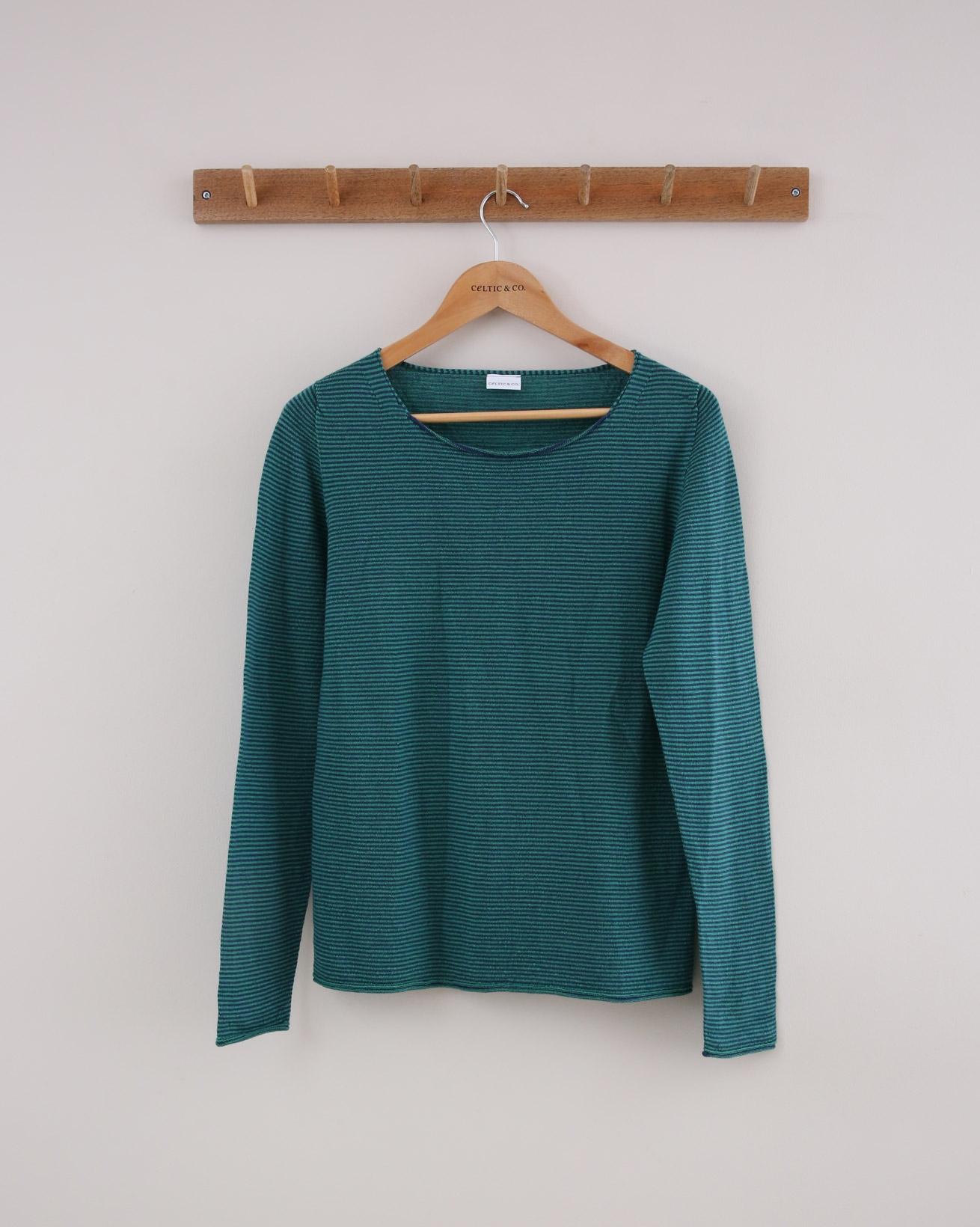 Fine Knit Merino Crew Jumper - Small - Green Stripe - 1397