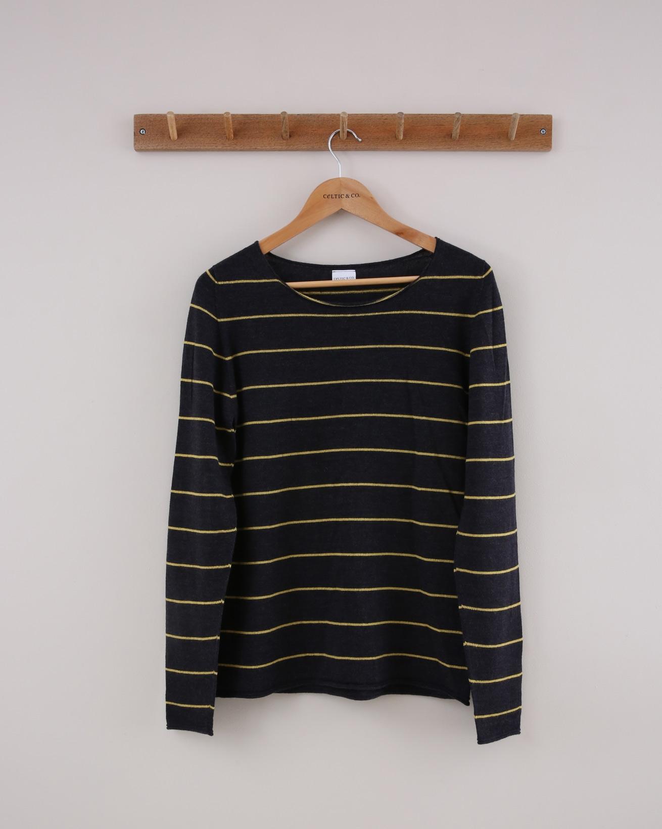 Fine Knit Merino Crew Jumper - Small - Charcoal & Gorse Stripe - 1400