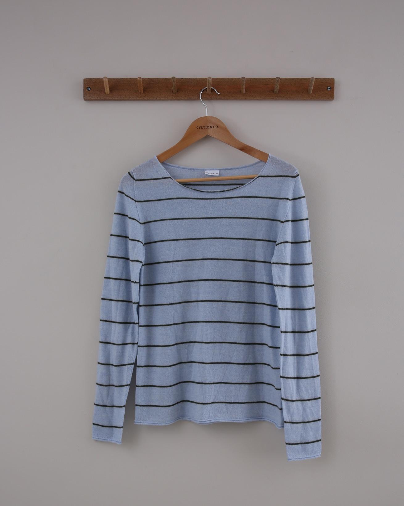 Fine Knit Merino Crew Jumper - Small - Vintage Blue & Olive Stripe - 1401
