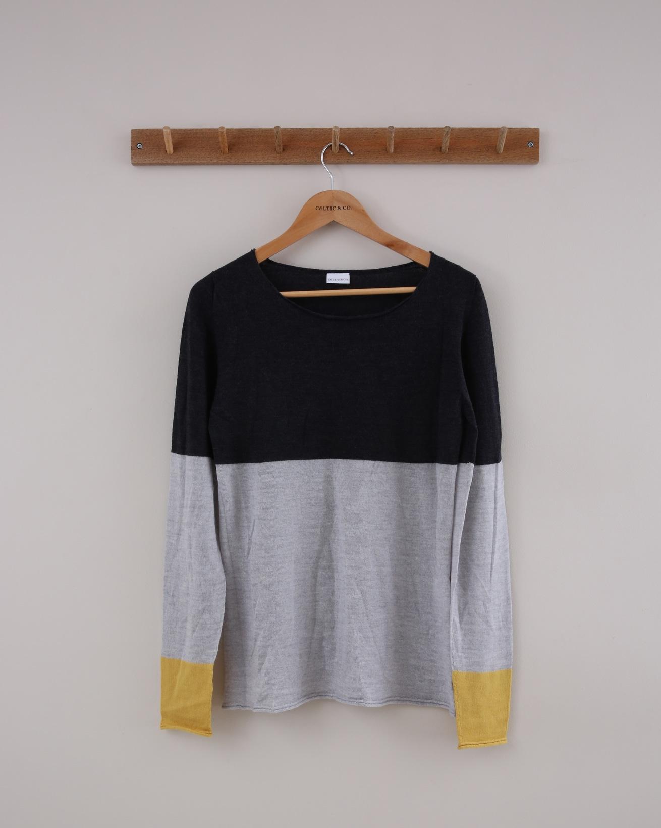 Fine Knit Merino Crew Jumper - Small - Grey & Gorse Colourblock - 1405