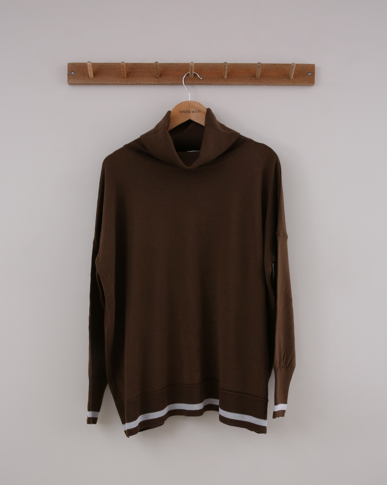 Slouchy Merino Roll Neck - Small - Brown & Grey Tipped - 1410