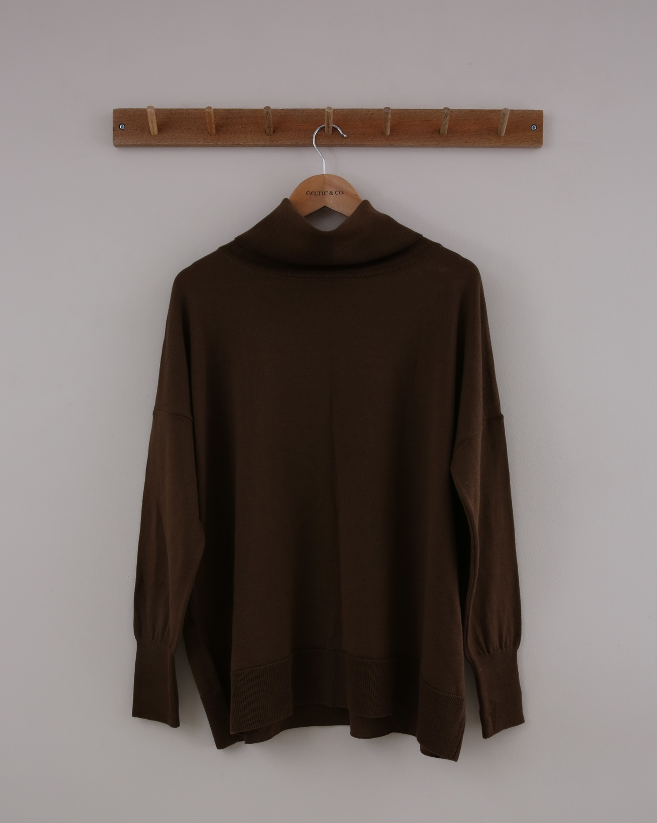 Slouchy Merino Roll Neck - Small - Brown - 1411