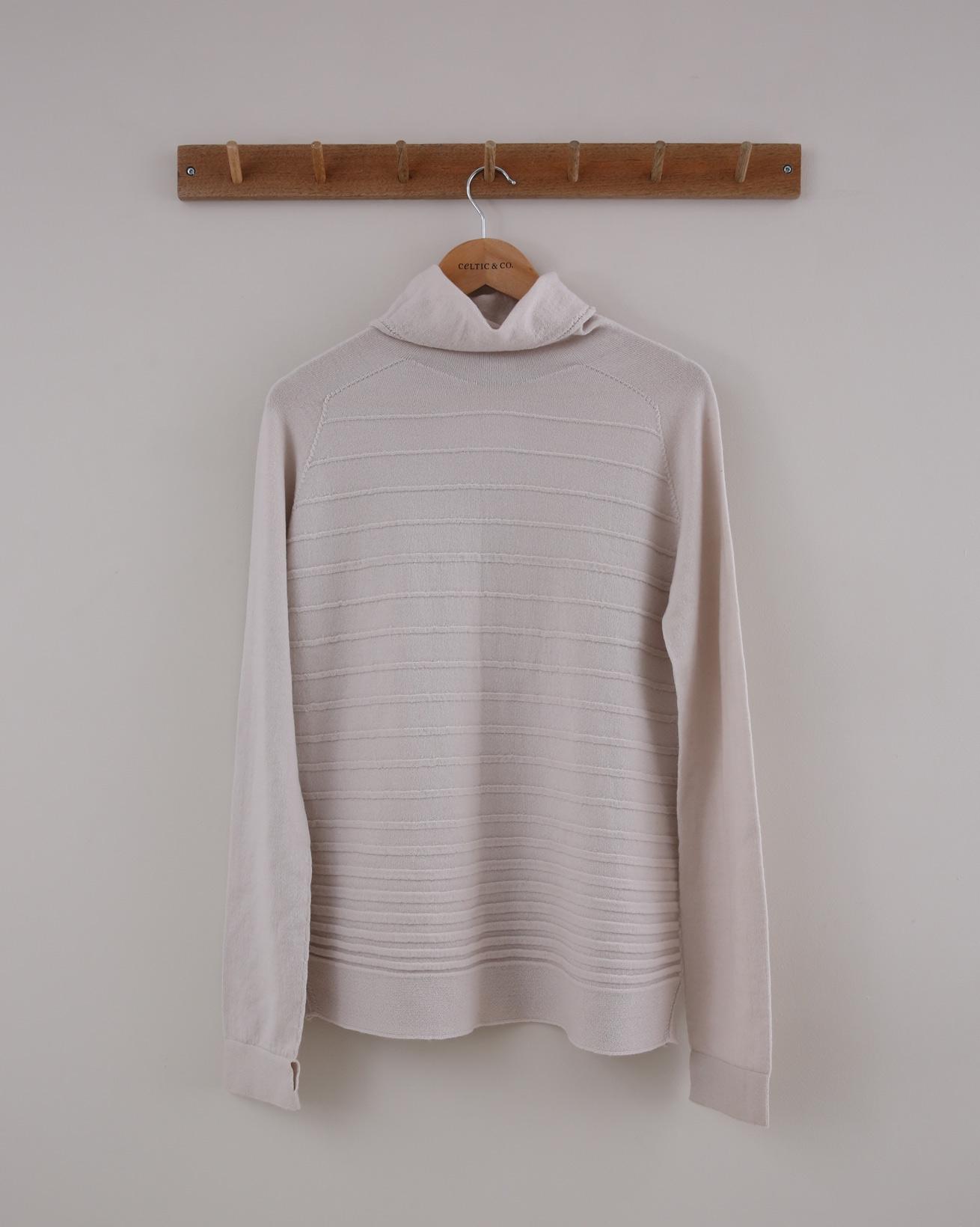 Textured Stitch Merino Roll Neck - Small - Swansdown - 1412