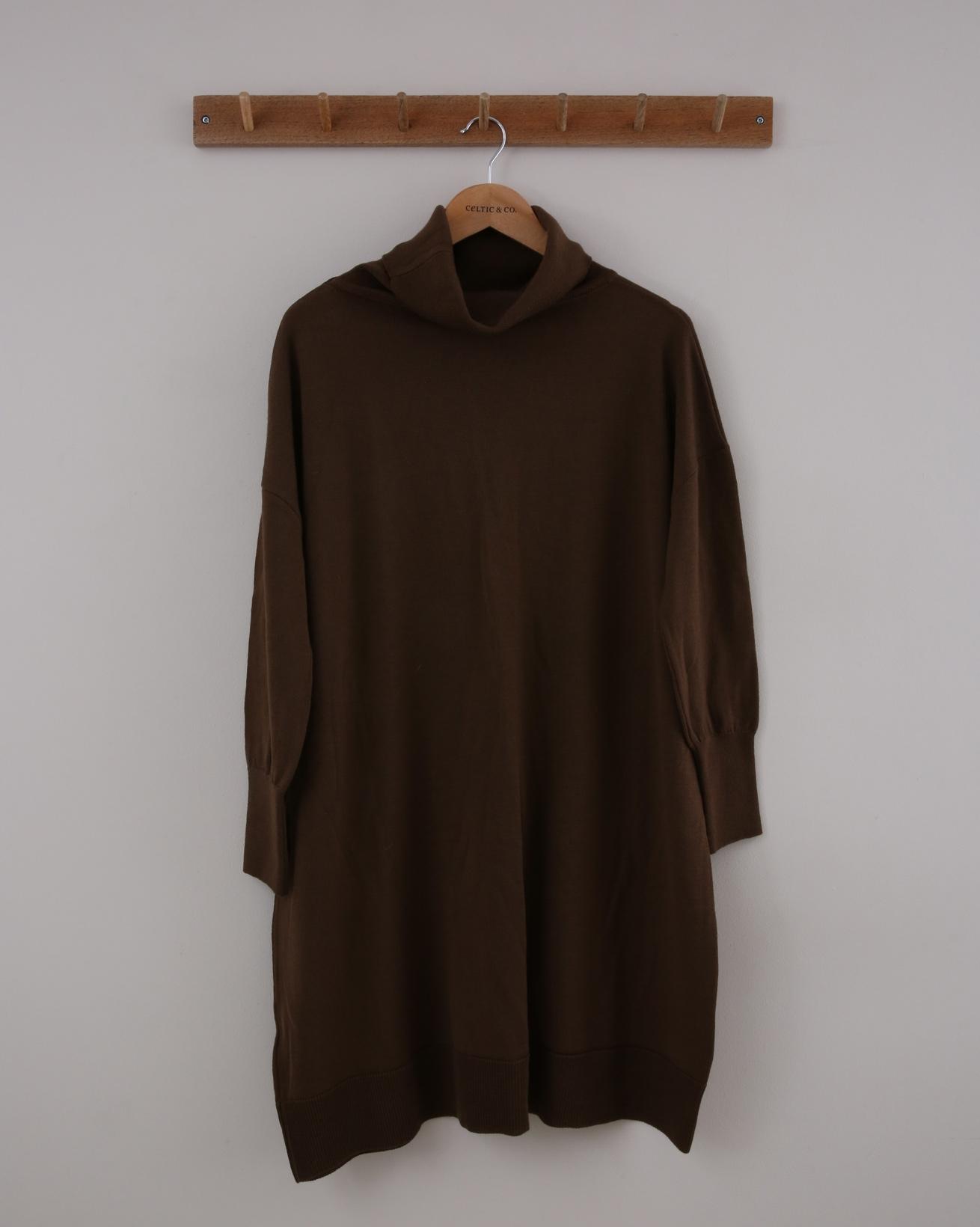 Slouchy Merino Dress - Small - Brown - 1415