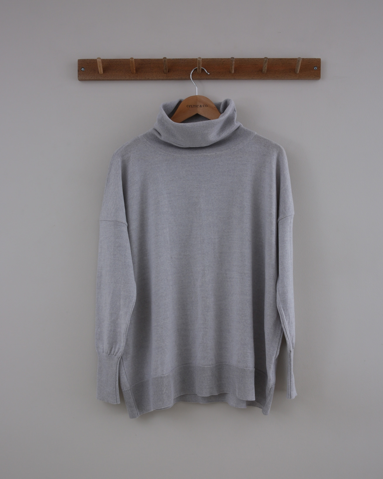 Slouchy Merino Roll Neck - Small - Fossil - 1423