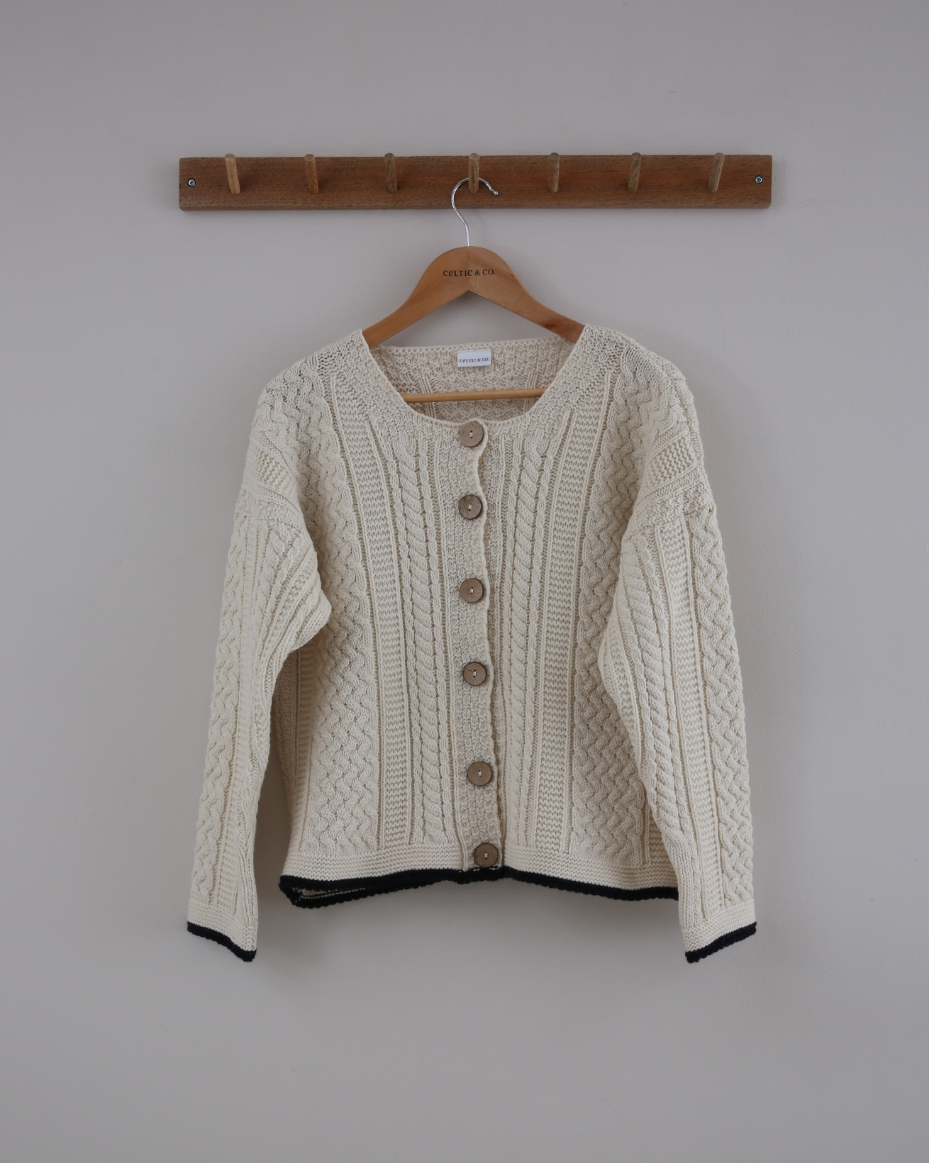 Cable Cardi - Small - Ecru & Navy Tipped - 1426