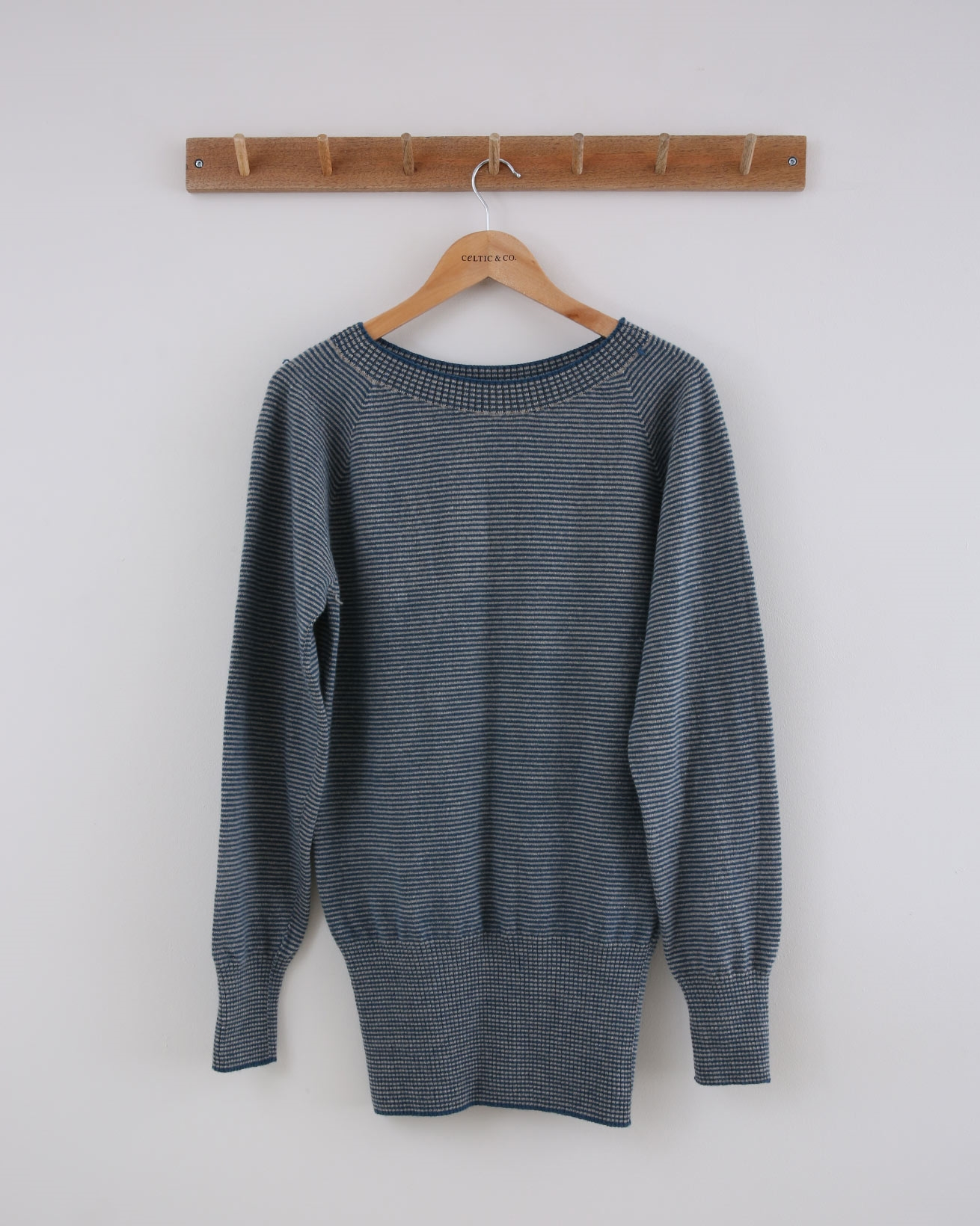 Supersoft Slouch Jumper - Small - Icelandic Blue Fine Stripe - 1431