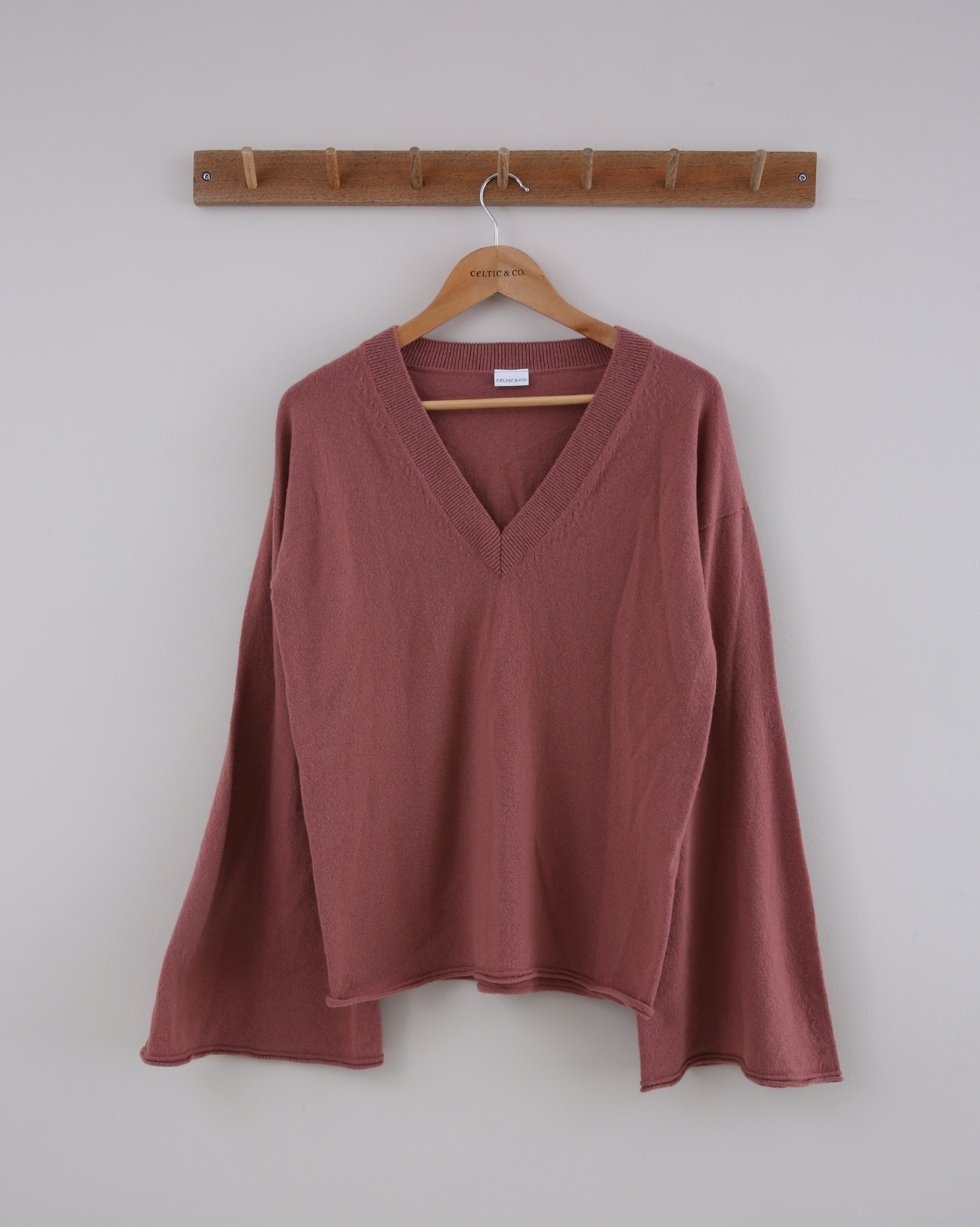 Geelong Flared Sleeve V Neck - Small - Antique Rose - 1437