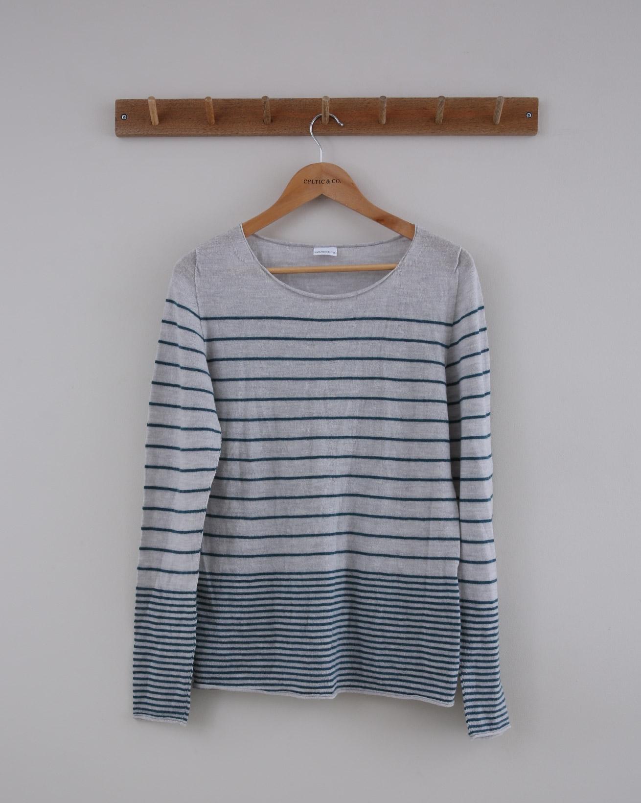 Fine Knit Merino Crew-neck - Small - Grey Teal Stripe - 1452