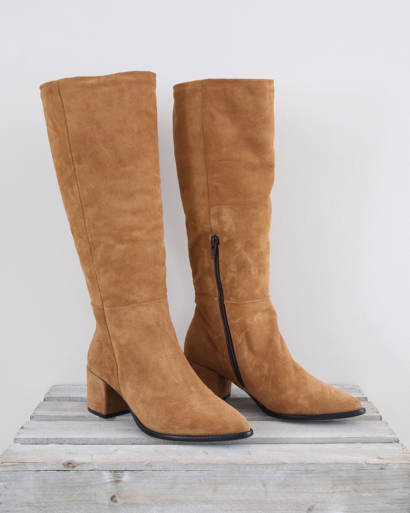 Suede Slouchy Boot - Size 37 - Camel - 1460