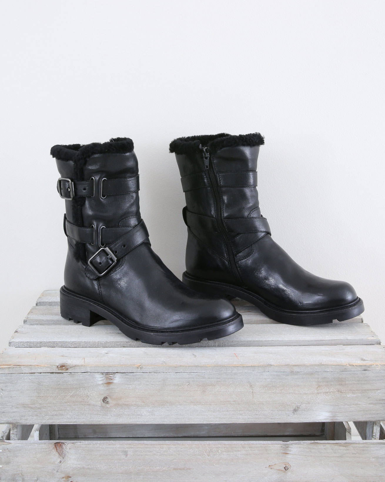 Biker Boot with Sheepskin Trim - Size 37 - Black - 1463